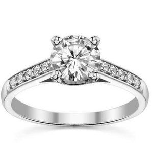 2.50 ct Prong set solitaire with accent diamonds w